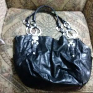 B.makowsky leather bag black w/animal print
